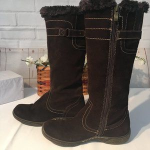 Bjorndal 6.5 Brown Suede Fur-Lined Mid-Calf Boots